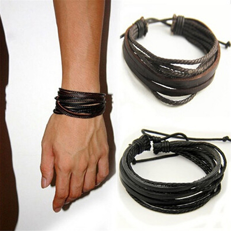 Hot Leather Bracelets & Bangles For Men And Women Black And Brown Braided Rope Fashion Man Jewelry Gift
