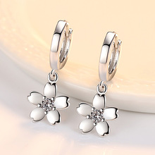 Trendy Design Silver Cherry Blossoms Flower Earrings Women Fashion Jewelry Gift for Girl Female Accessory