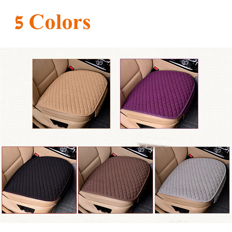 Flax Car Seat Covers Front Rear/ Full Set Linen Fabric Seat Pad Cover