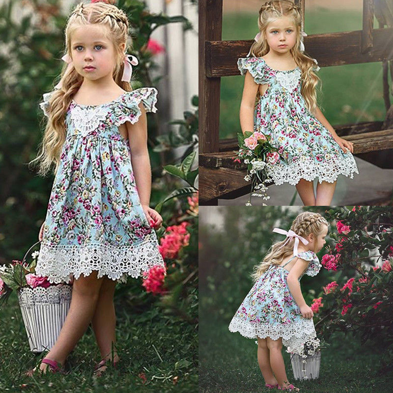 Summer Cute Baby Kid Girl Dress Toddler Princess Party Floral Print Tutu Dresses