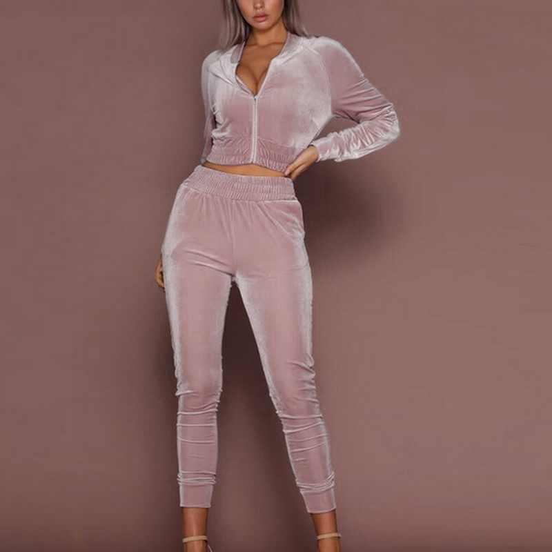 CYSINCOS 2019 אביב סתיו נשים ספורט סטי אופנה קטיפה אימונית הסווטשרט 2pcs פס סווטשירט צפצף זיעה חליפות