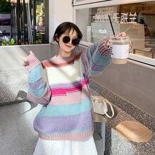 Модный женский зимний теплый свитер в Корейском стиле с круглым