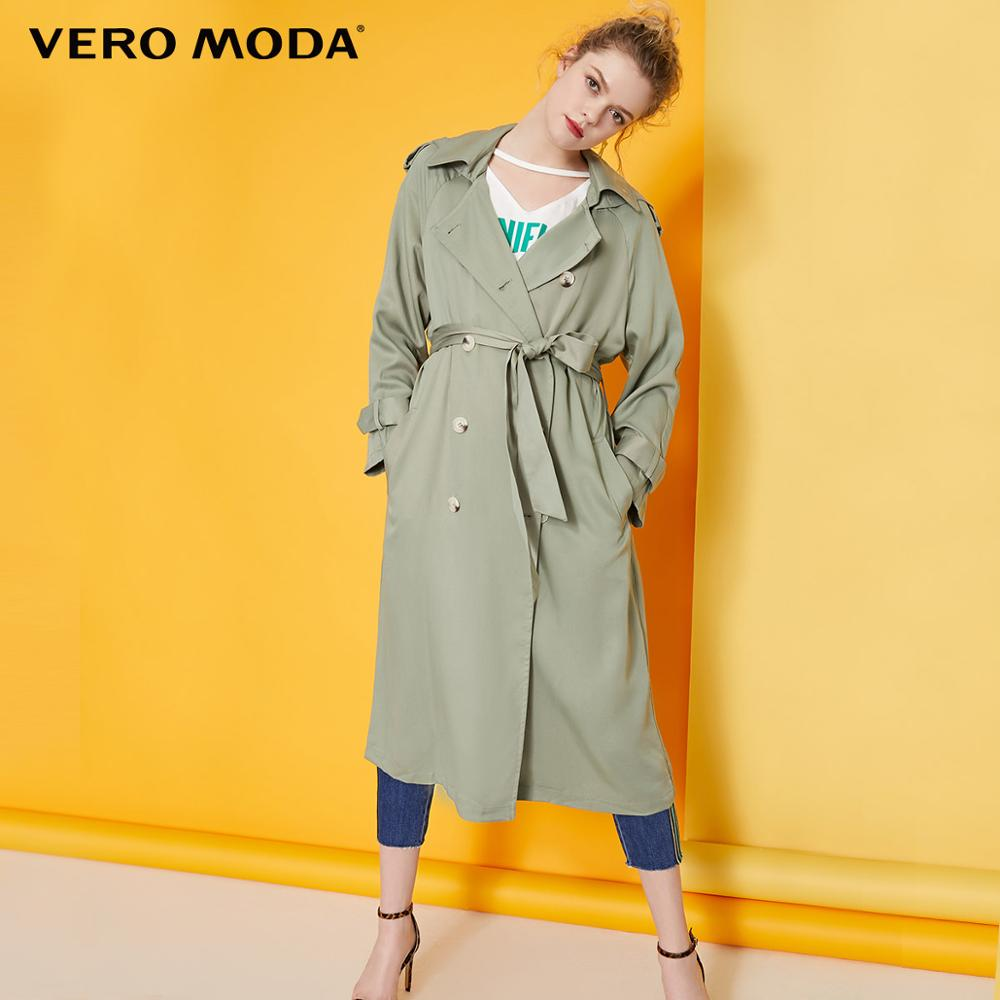 Vero Moda Women's Lyocell Double-breasted Hooded Long Trench Coat  | 319121525