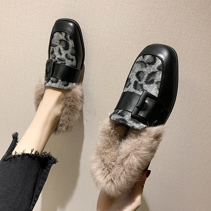 Winter Shoes Women Shallow Mouth Square Toe Loafers Fur Casual Female Sneakers Autumn 2019 Fashion Women's British Style Low 41