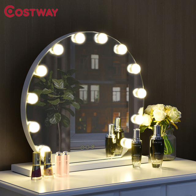 3 Color 12 Bulbs Modes Touch Screen Dimming Hollywood Style Makeup Vanity Mirror Adjustable Brightness Smart Touch Control 2
