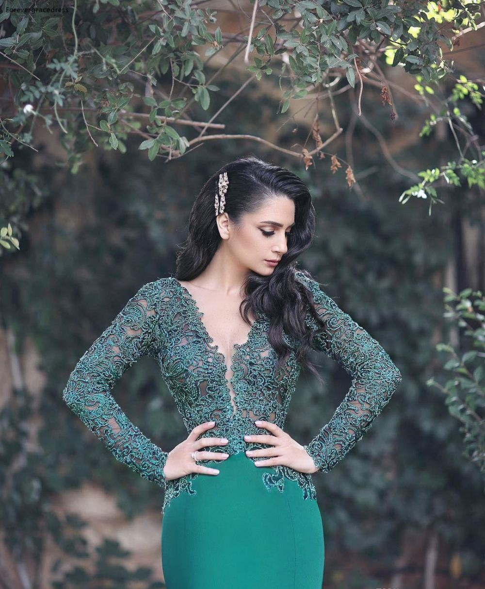 2018 Sexy Sheer Neck Dark Green Mermaid Evening Dresses Illusion Lace Appliques Long Sleeves Satin Floor-Length Formal Wears Evening Gowns 119 (4)