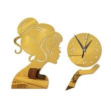 3D DIY Acrylic Wall Clock Fashion Technology Mirror Girl Mirror Stickers Clock Wall Stickers diy wall clock acrylic mirror stickers art home decoration