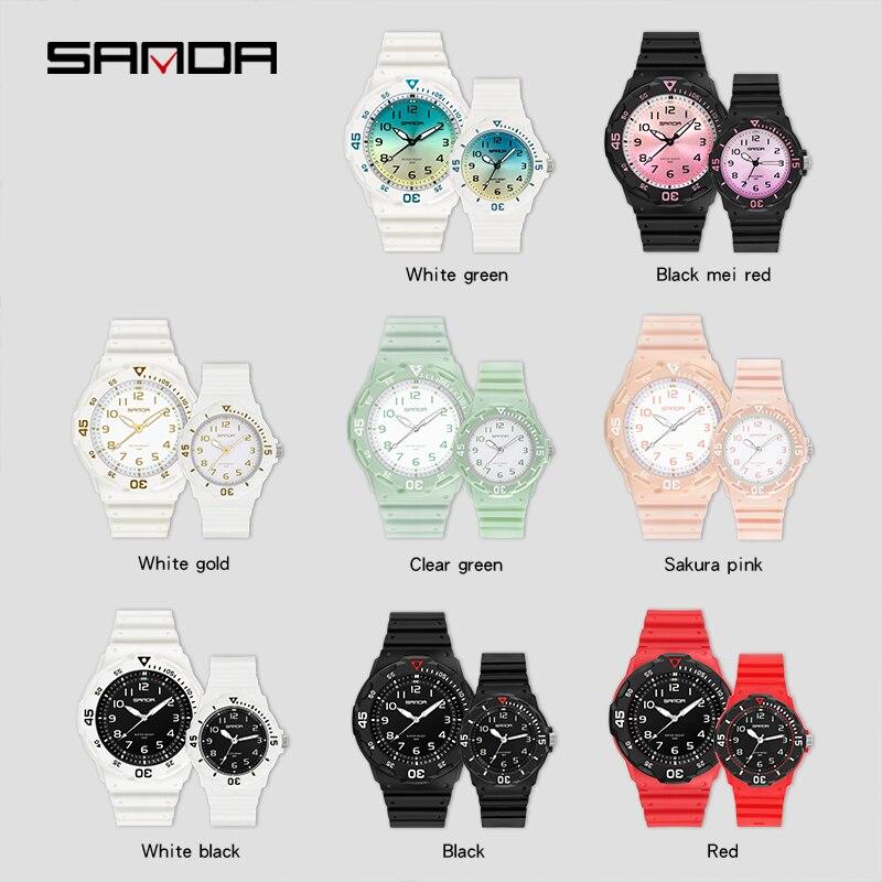 Montre à Quartz pour les amoureux de la mode, accessoire de luxe, mains lumineuses, étanche 50M, marque supérieure SANDA pour Couple 2