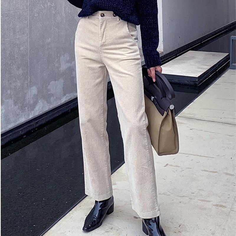 HziriP – pantalon droit décontracté taille haute pour femme, bas ample en velours côtelé pour grand-mère, nouvelle collection automne hiver S-4XL