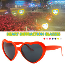 Amazing Heart Effect Diffraction Glasses Special Effect Festival Light Changing Eyewear Outdoor for Music Party/Bar/Fireworks