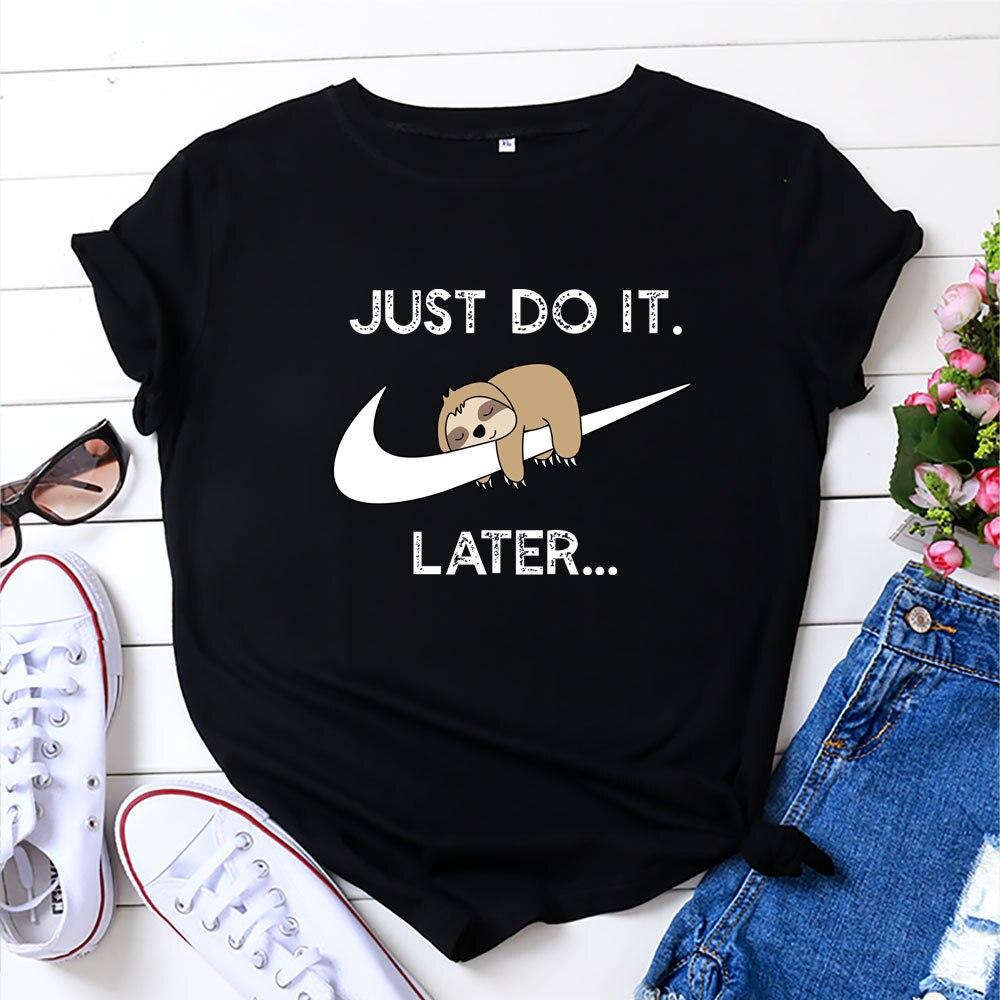 T-Shirt Graphic Tops Short-Sleeve Cute Sloth Summer Kawaii Cartoon 100%Cotton Female Tee