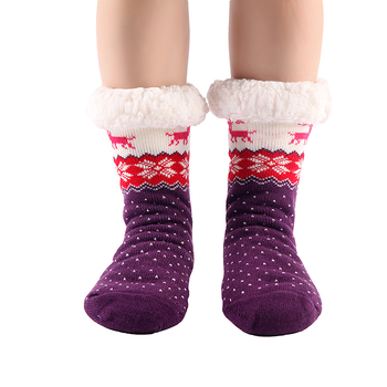 Hot Winter Slippers Women socks Home Warm Plush House Shoes Print Knitted Fluffy Slippers 6 Color
