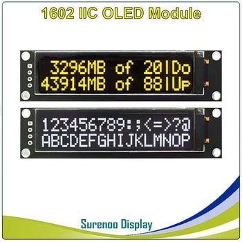 "Real OLED Display, 2.26"" 1602 162 Character IIC I2C White Yellow OLED LCD Module Display LCM Screen KS0066 For Arduino STM32"