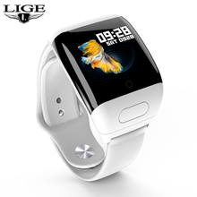 LIGE Smart Watch Bluetooth TWS Stereo Headset Heart Rate Monitoring Long Time Standby Sport Fitness Tracker Smartwatch Headphone
