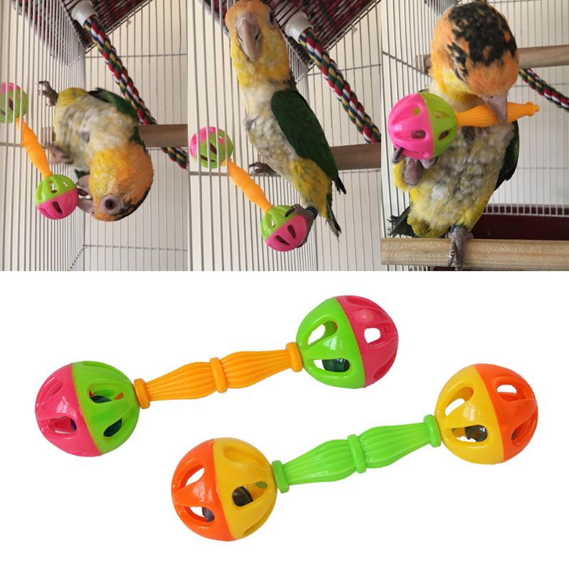 2 Pcs Bird Parrot Toy Rattle Birds Fun Exercise Plastic Double-headed Bell Pet Toys D08F