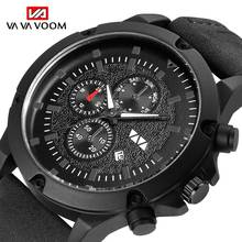 VA VA VOOM NEW Men Watch Sport Wrist watch Black Quartz watches Date Watch For Male Leather Strap Men's Clock relogio masculino топ voom