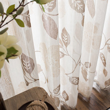 Printed Tulle Curtains Window for Living Room Bedroom Modern Floral Sheer Curtains for Kitchen Window Screening Voile Drapes