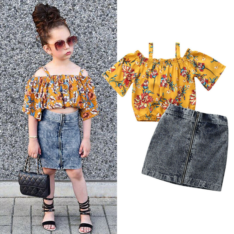 1-6 Years Infant Clothes 2019 Autumn Kids Girl Clothes Sets Off Shoulder Floral Tops Zipper Jeans Shorts Set Baby Girls Outfits 1