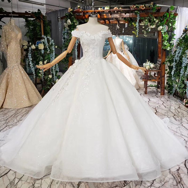 BGW HT41715 Ball Gown Wedding Dress Court Train Appliques 3D Flowers Off Shoulder V-neck Wedding Gowns Organza Noiva Vestido 828