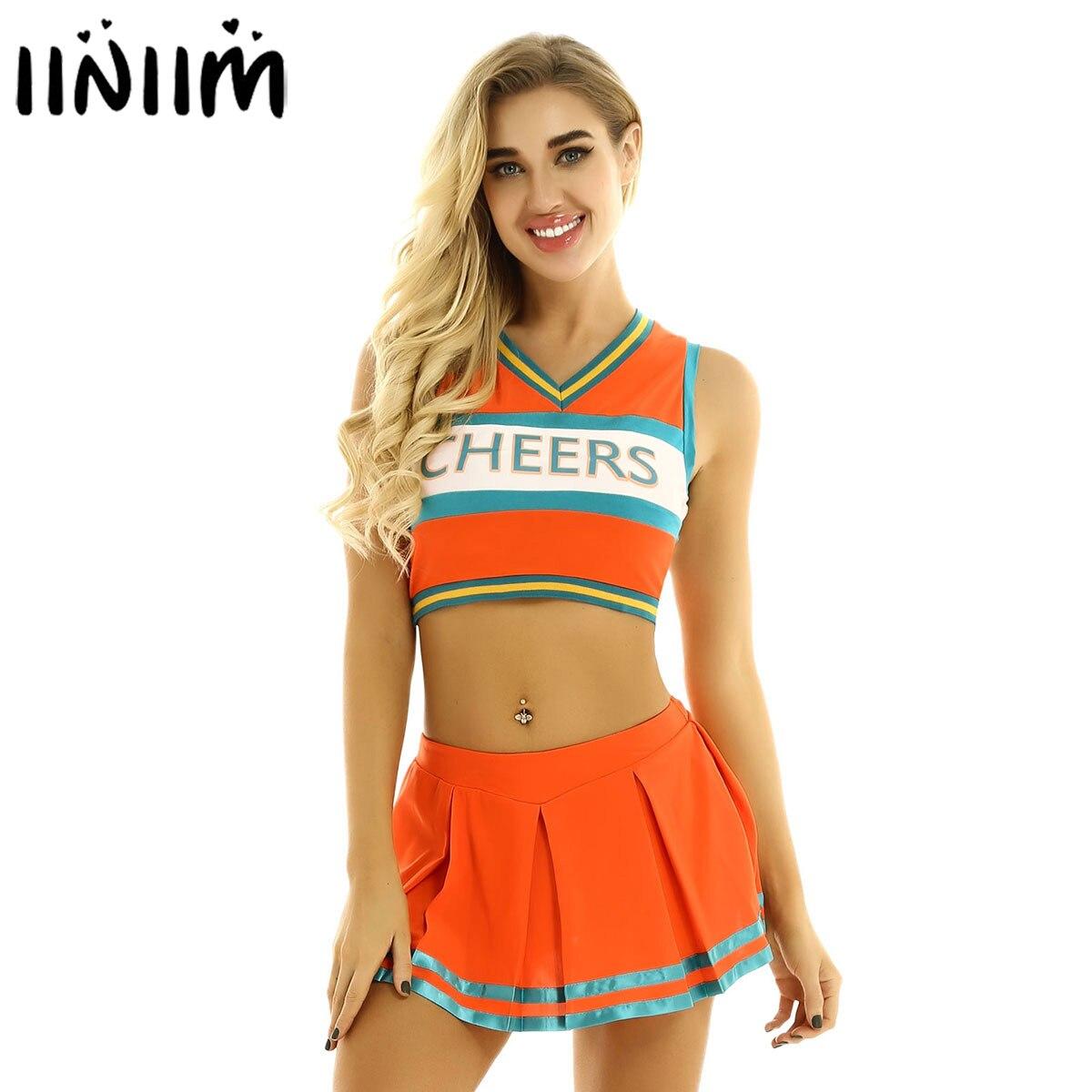 Iiniim Womens Cheers Dancewear Sex Uniform Cheerleader Cosplay Costumes Clubwear Sleeveless Crop Top With Mini Pleated Skirt