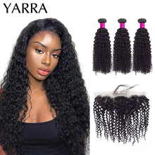 Peruvian Kinky Curly Hair Bundles with Frontal 13x4 Lace 100% Human Hair Bundles With Frontal Pre Plucked with Baby Hair Yarra