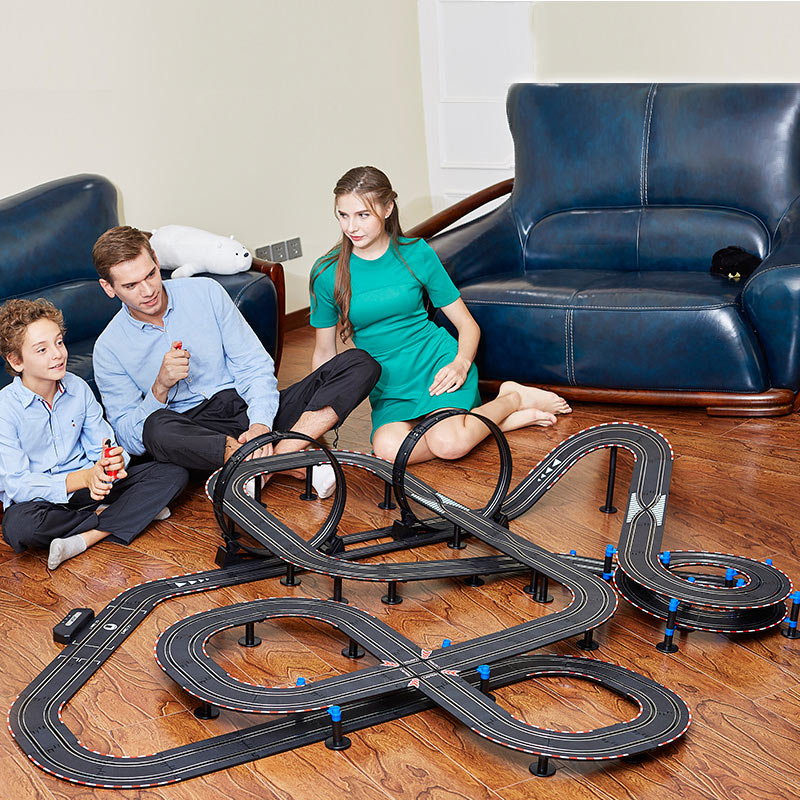 1:64 Track Racing Scalextric Double Competitive Slot Car Remote Control Toys Spare Parts 4 Cars Birthday Present Gift