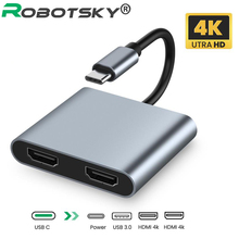 USB C 3.0 Hub Adapter USB Type C To 4K HDMI-compatible Audio Video Converter PD 60W Fast charger For Macbook Pro Samsung Huawei