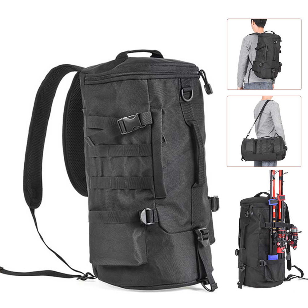 Fishing Bag Black Cylindrical Large Capacity Fishing Tackle Backpack Outdoor Shoulders Bag Tackle Storage Bags Travel Carry Bag Fishing Bags     - title=