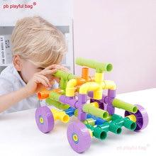 Building-Block DIY Plastic PB Gift-Set Playful-Bag Educational-Toy Pipeline Enlightening