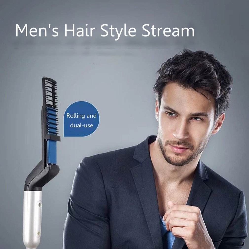Man Combs Straight Hair Comb Quick Beard Styler Comb Multifunctional Straightening Curly Hair Comb Ceramic Ion Heating