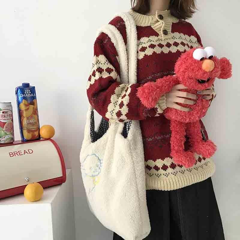 Women's Lamb Shoulder Bag Simple Canvas Handbag Tote Bag Large-capacity Embroidery Shopping Bag Cute School Bag Girl's Bag