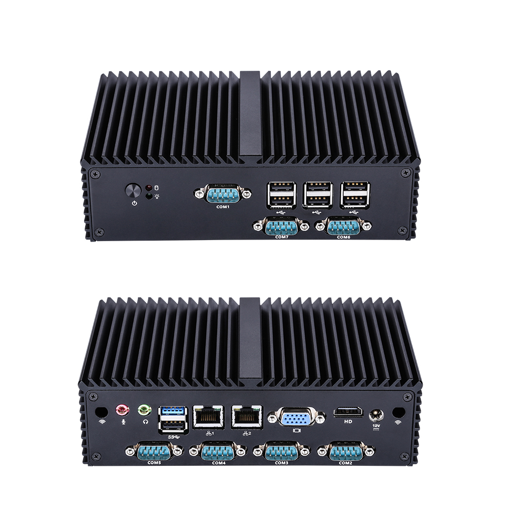 Q Series Industrial Fanless Mini PC Win10 Core I7 I5 I3,Q180X/Q190X 6*COM USB Micro Computer Linux