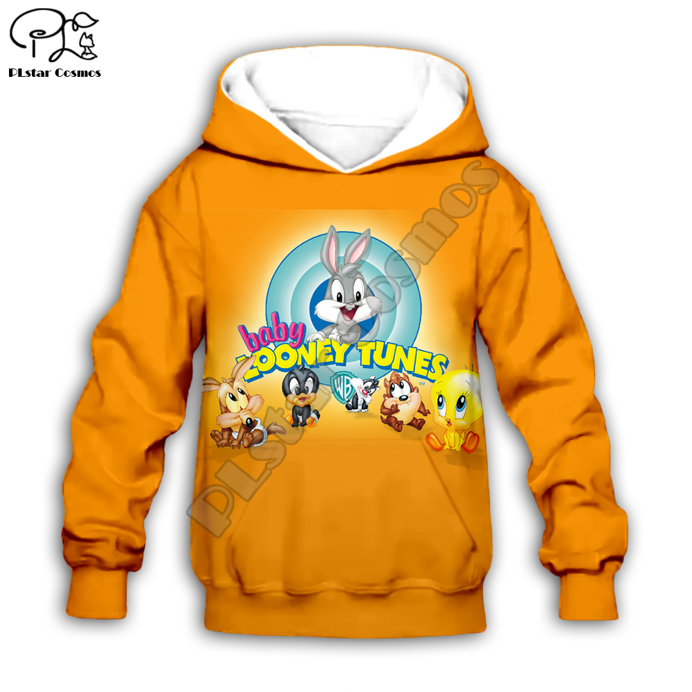 Kids Bugs Bunny Print Baby Looney Tunes 3D Hoodies Cartoon Sweatshirts Children Toddler Boy Girl Zipper Tracksuit  Shirt Pants