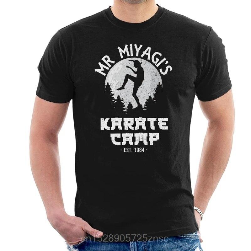 Camiseta masculina do miúdo do karate do acampamento do sr. miyagi