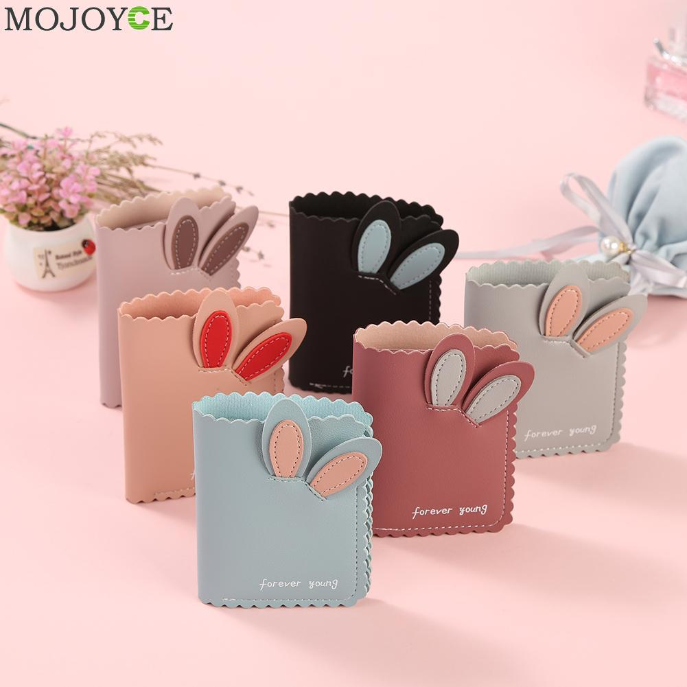 Fashion Rabbit Ear Purse Women PU Leather Multi-function Mini Wallet Clutch Ladies Simple Splicing Soft Card Holder