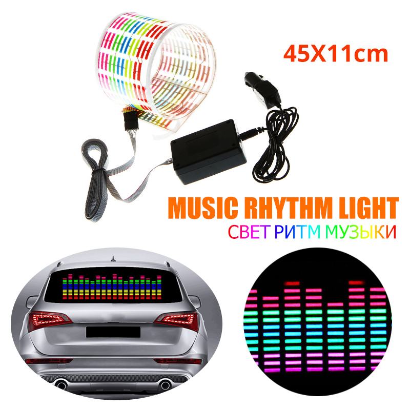 45X11CM Car Auto Music Rhythm Changed Jumpy Sticker LED Flash Light Lamp Activated Equalizer EL Sheet Rear Window Styling