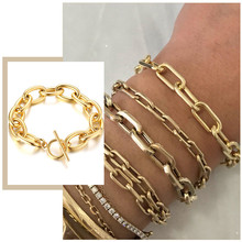 Punk Rock Thick Chain Bracelets for Women, 5/8.5/12mm Wide, Minimalist Street Geometric Lock Charm Wristband Jewelry