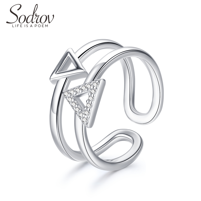 Sodrov 925 Sterling Silver Triangle Party Adjusted Ring Jewelry For Women