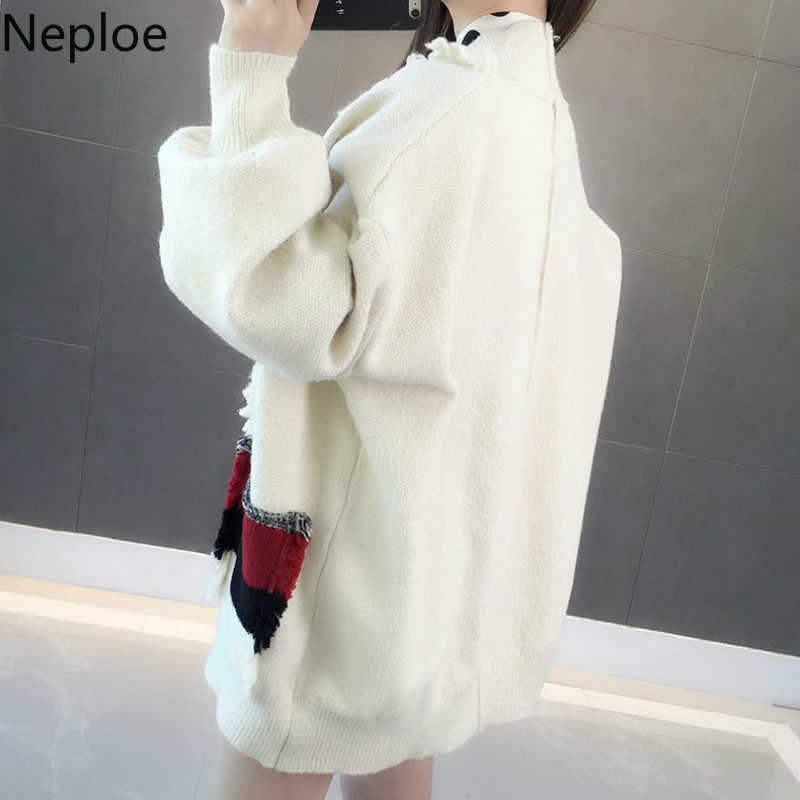Neploe Koran однотонный вязаный открытый стежок модный v-образный вырез фонарь рукав Дикий Mujer Invierno свободный лоскутный толстый кардиган 45584