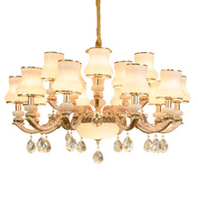 European Luxury Living Room Glass Chandelier Crystal Restaurant Bedroom Hall Jade Hanging Lights Pendant Light