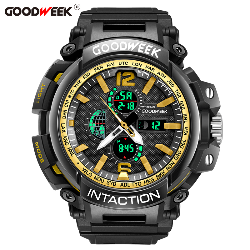GOODWEEK Men's Sports Watch Analog Digital Watch Quartyz Waterproof Multifunction Dual Dispaly Watches Chronograph Reloj Hombre