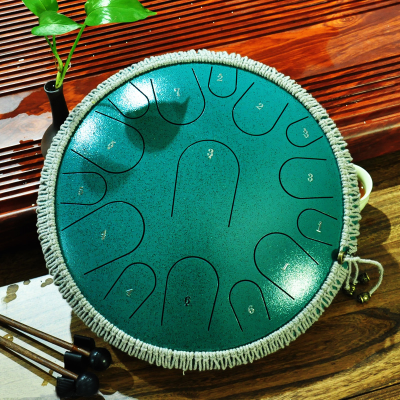 Ethereal Drum,13 Inches Steel Tongue Drum WENJIE Steel Drums Steel Tongue Drum 15 Note Drum Percussion Instrument Yoga Meditation Tank Musical Instrument with Drumsticks Color : Purple