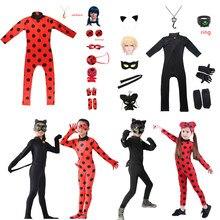 Combinaison Cosplay fantaisie pour filles, noël, Halloween, sac de vêtements de fête, perruque, ensembles de jouets pour enfants, Spandex chat Noir, costume Tikki Plagg