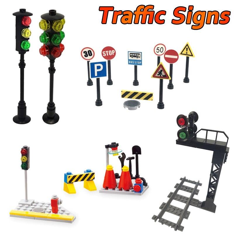 Городской дорожный светильник Moc, модель игрушек для детей, развивающие подарочные блоки для детей, совместимые с городскими Дорожными знак...