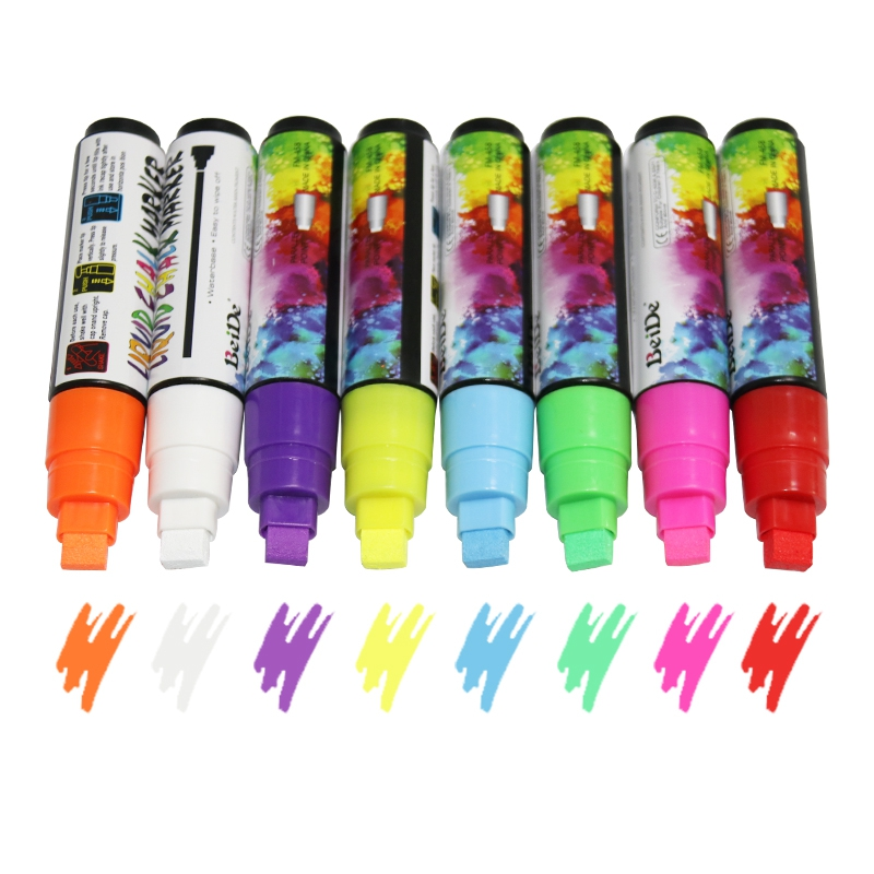 8 Colors Highlighter Fluorescent Neon Pen Erasable Liquid Chalk Marker 10mm Reversible Rectangular Repeated Filling Ink