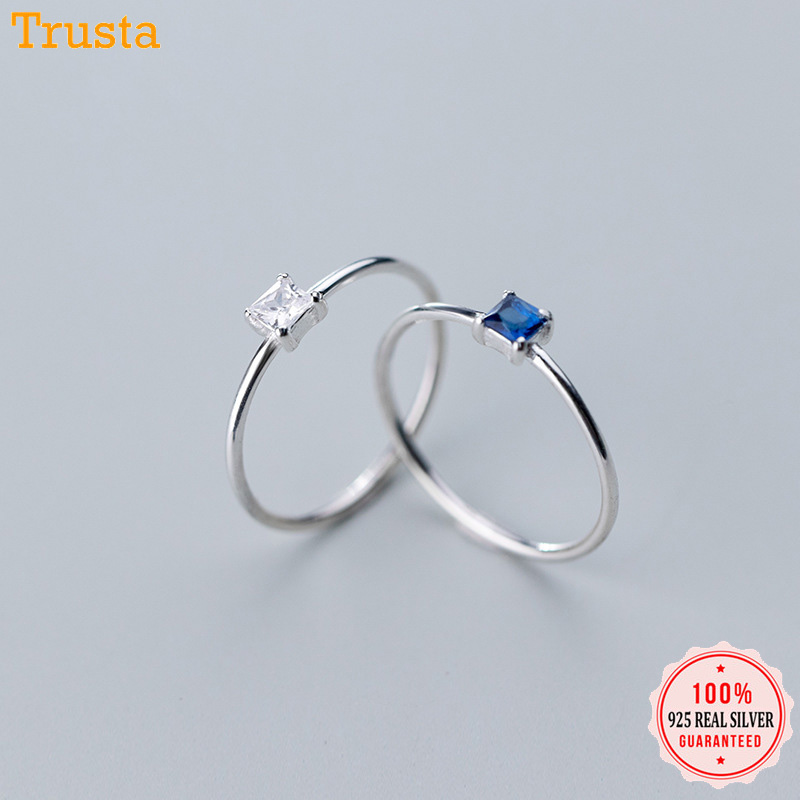 Trustdavis 925 Sterling Silver Simple Cute Dazzling Square CZ Finger Ring Size 6 7 8 For Women Gilr Silver 925 Jewelry DS112