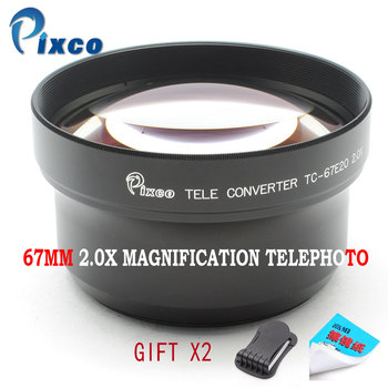 Pixco 67mm 2.0X Magnification Telephoto Tele Converter Lens For Camera Black