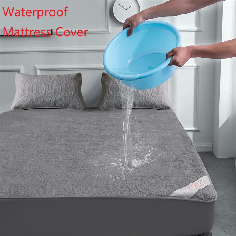 Super Waterproof Quilted Mattress Cover Air-Permeable Bed Protector Pad Cover Queen Mattress Topper Not Including Pillowcase