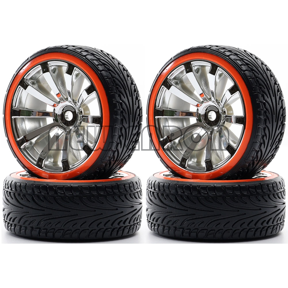 NEW ENRON Rubber Tyre & Plastic <font><b>Wheel</b></font> Rim 3mm Offset 4Pcs <font><b>RC</b></font> <font><b>1/10</b></font> HSP <font><b>Drift</b></font> Car Traxxas HSP Tamiya HPI Kyosho RedCat Sakura image