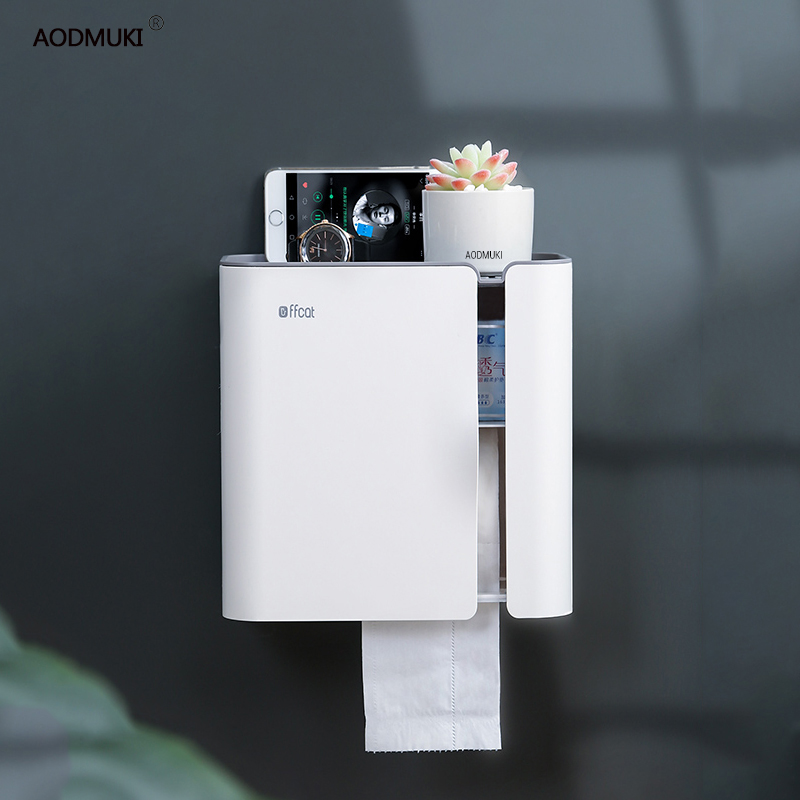 กันน้ำ Wall Mount Toilet กระดาษยึดสำหรับห้องน้ำถาดกระดาษม้วนกระดาษผ้าเช็ดตัวผู้ถือกล่องเก็บอุปกรณ์...